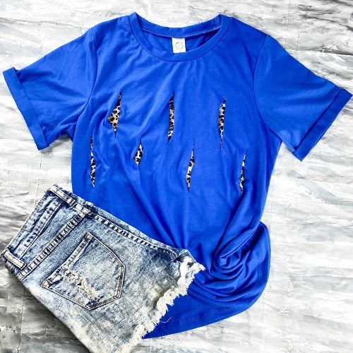 Royal Blue Short Sleeve Top with Leopard Cut Slits