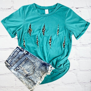 Turquoise Short Sleeve Top with Leopard Cut Slits