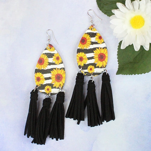 Sunflower Earrings With Tassels