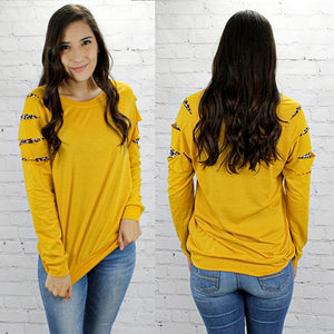 Game Day Long Sleeve Leopard Cut Tee - Mustard