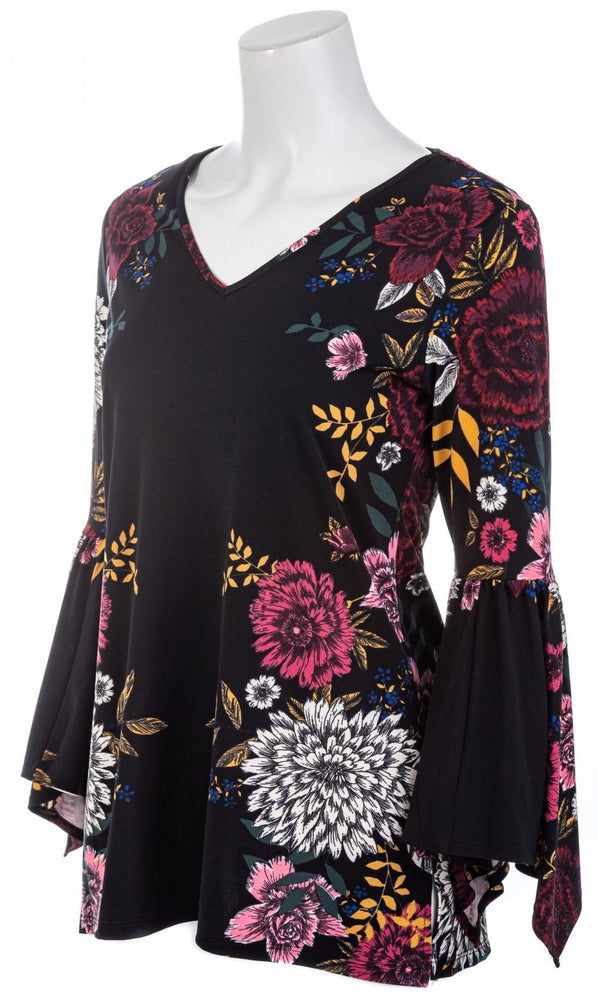 Black Floral V-Neck Tunic Top