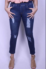 Pull On Stretch Distressed Denim Jeans