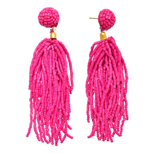 Fuchsia Seed Beaded Tassel Statement Drop Earrings