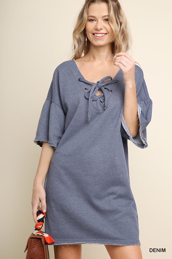 Denim Color Knit Tunic or Dress