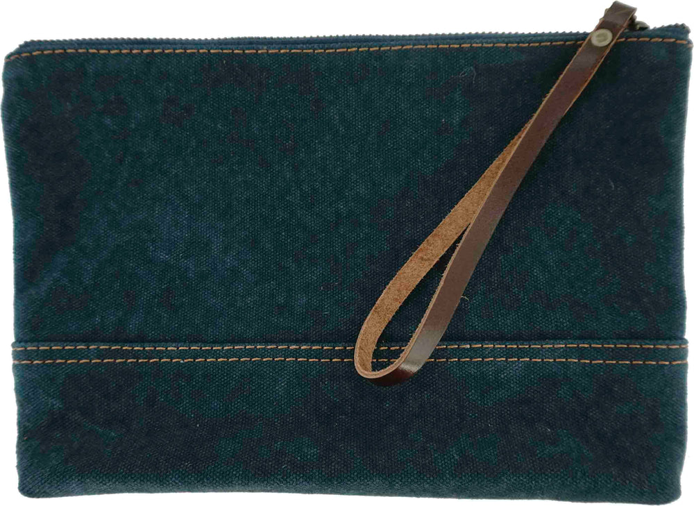 Denim Blue Canvas Leather Wristlet Carry All