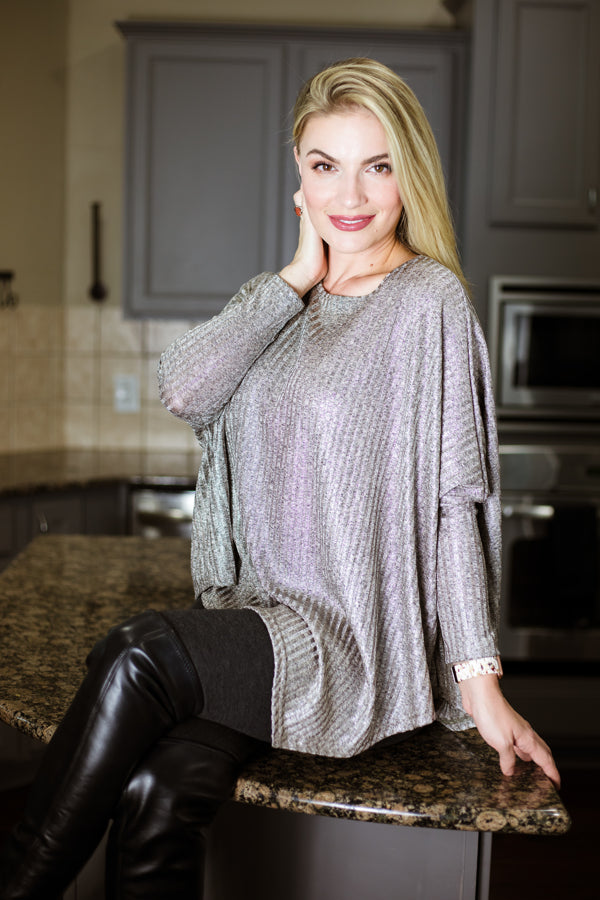 Silver Taupe Asymmetrical Dolman Sleeve Shimmer Top