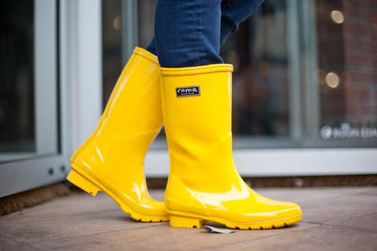 YELLOW EMMA MID CALF WOMEN'S RAIN BOOTS