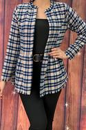 Plaid blazer w fringed trim