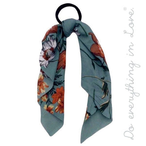 Floral ponytail scarf