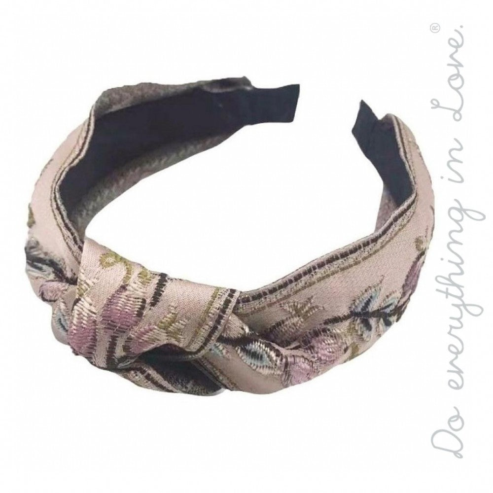 Knotted floral embroidered headband.