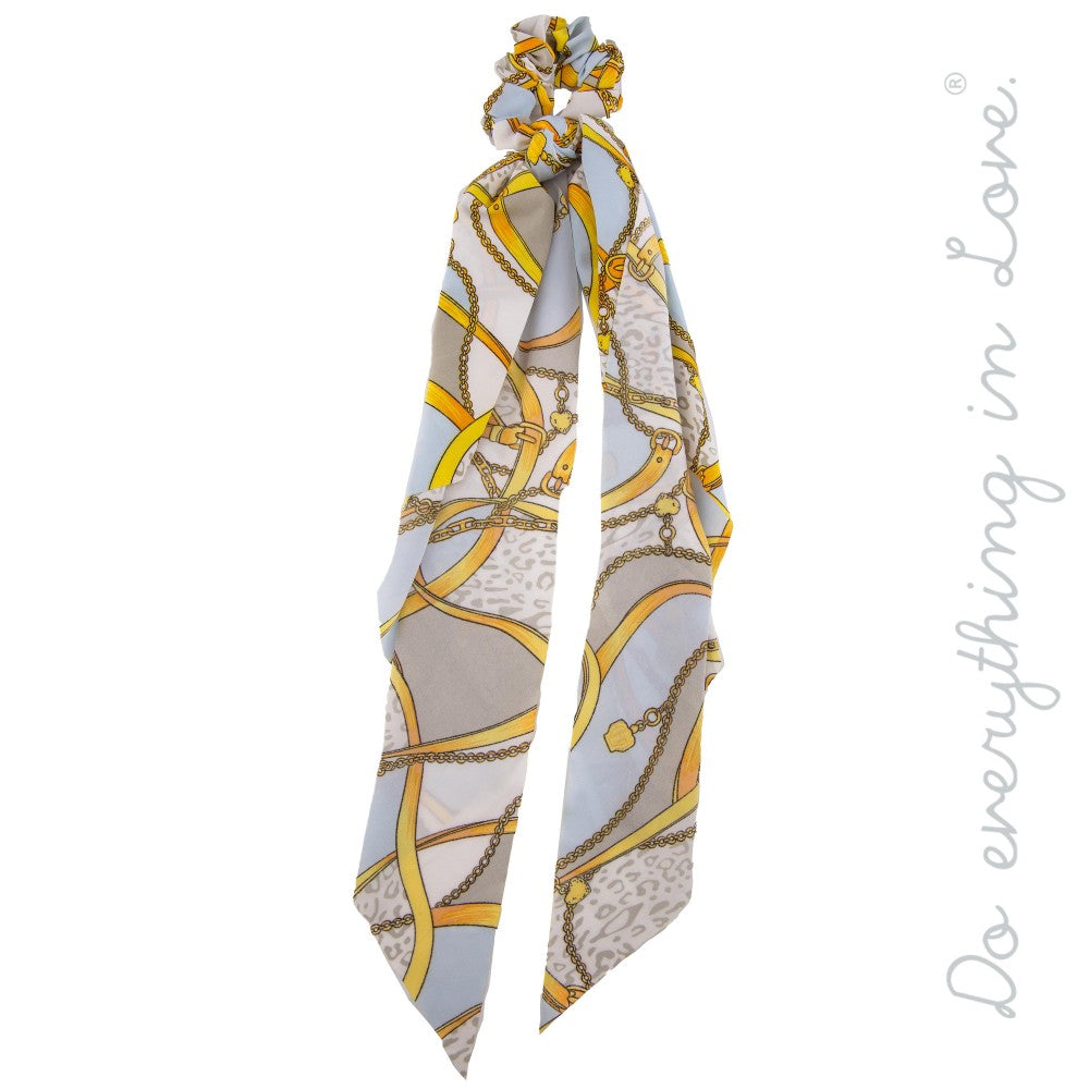 Hair Scarf- Gray chain print
