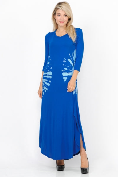 Blue Tie Dyed Maxi with Slits
