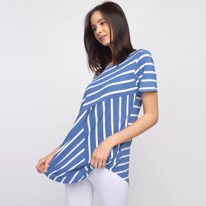 Striped denim and white short sleeve tunic top
