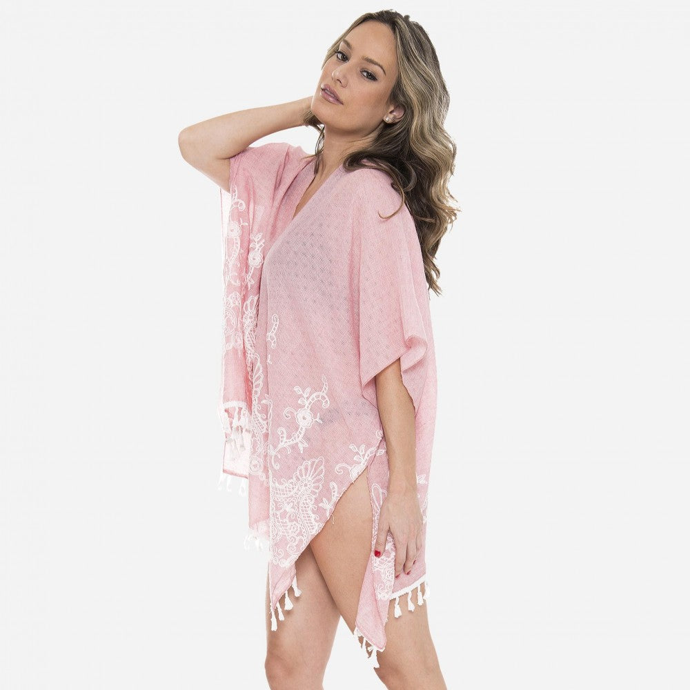 Pink sheer floral embroidered tassel kimono