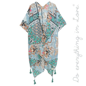 lightweight geometric floral kimono with tassels