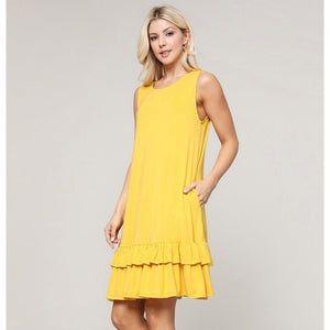 Yellow Sleeveless Ruffle Pocket Dress
