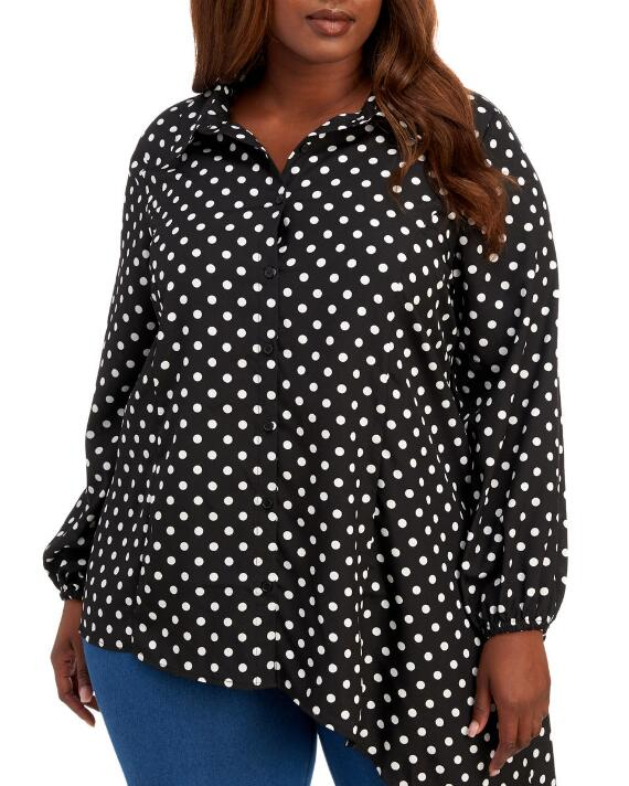 Button-up Polka Dot PlusSize Top