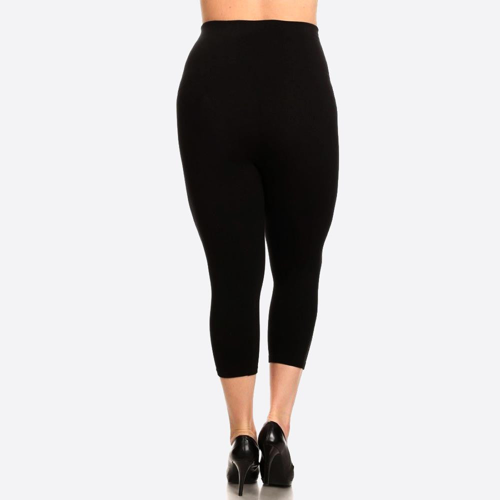 Black high waisted one size compression capri leggings