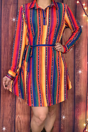 Multi-color serape long sleeve dress