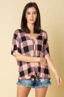 Plaid V-neck top with front buttons
