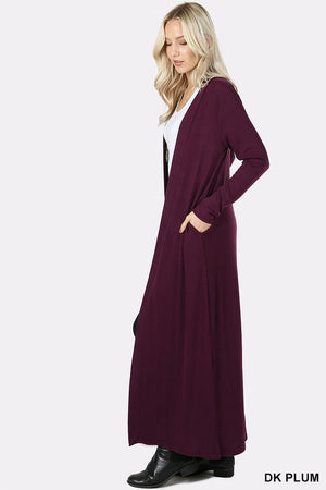 Dark Plum Cardigan Duster w/side pockets