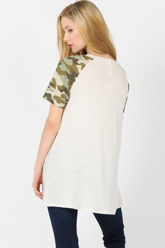 Oatmeal Camo Sleeve Top