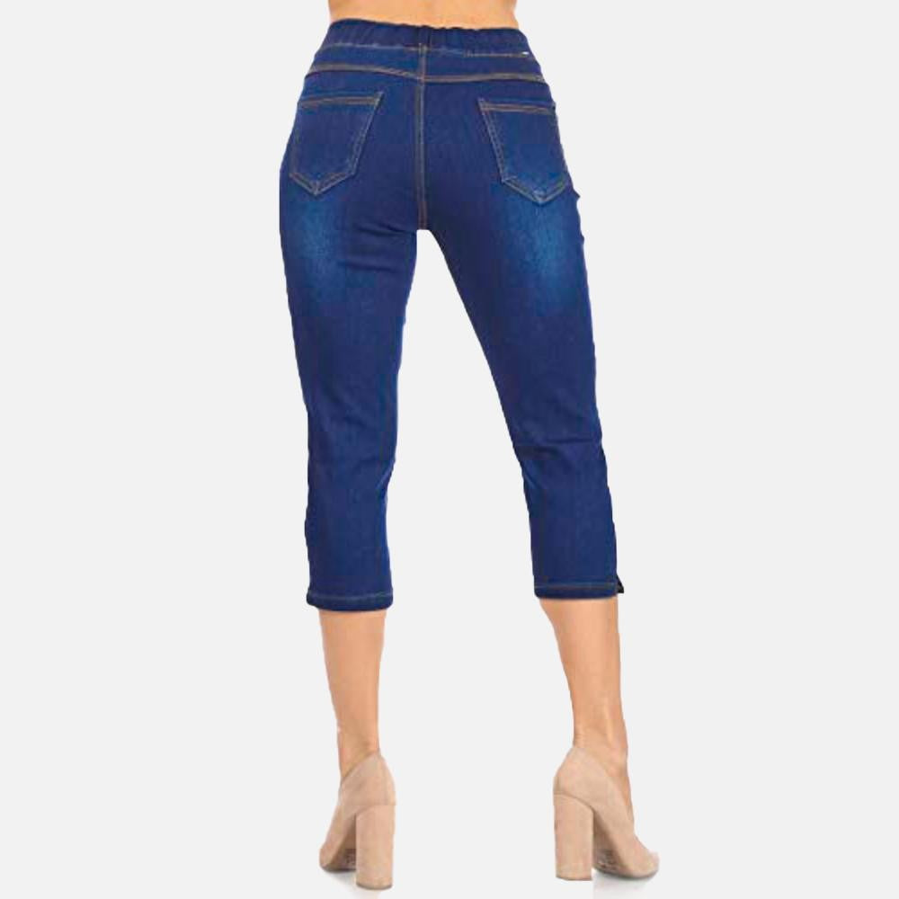 Dark Denim Capri Stretch Pant