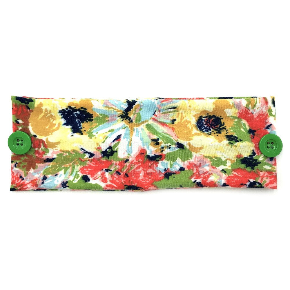Floral Print Face Mask Fashion Button Headwrap - Green