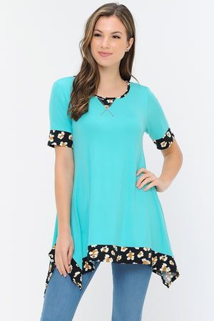 Mint Tunic with Leopard Trim
