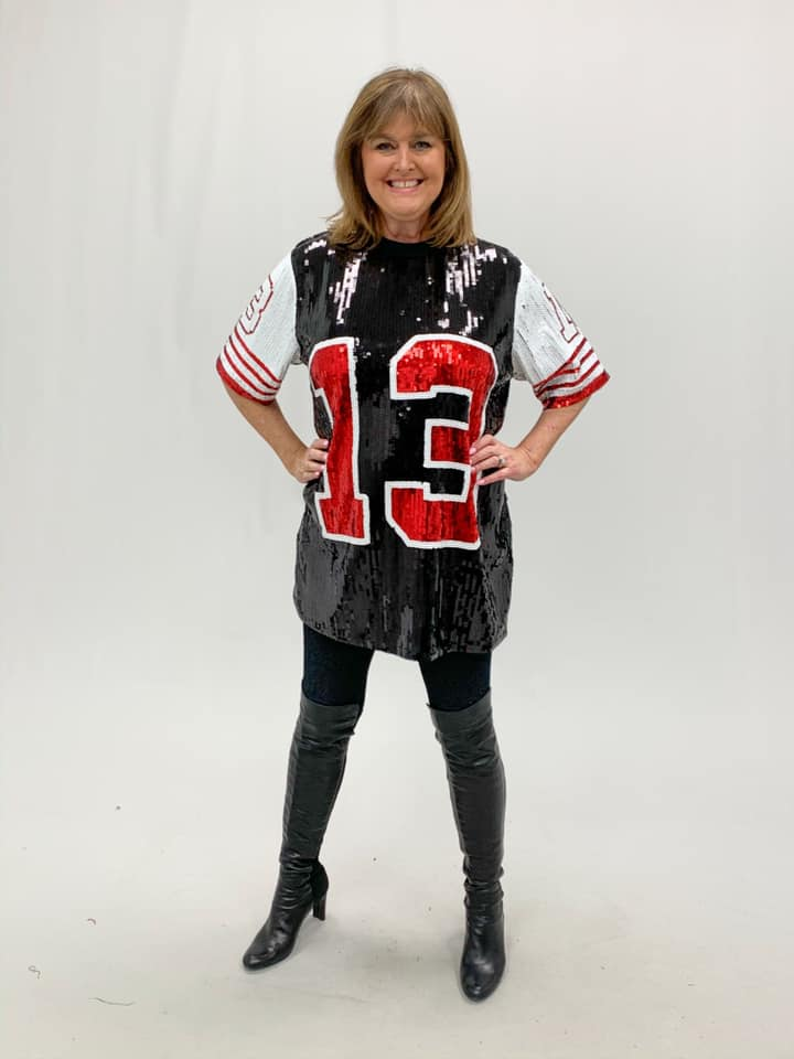 Black Sequin Football Tunic