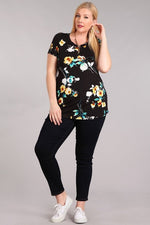 Black and Floral short sleeve Top