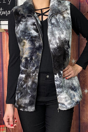 Black and white tie dye furry vest