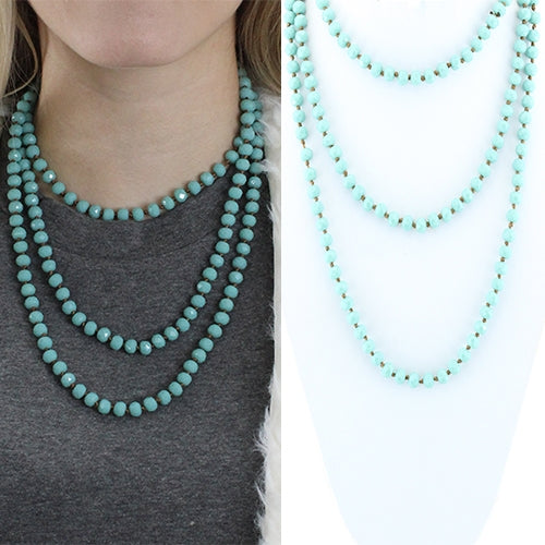 "60"" Crystal Beaded Necklace Turquoise"