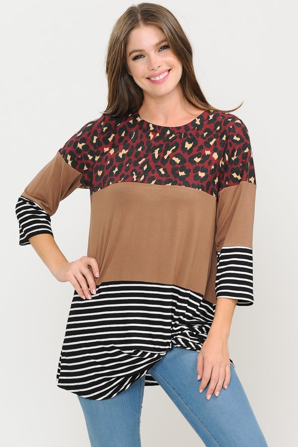 Burgundy Color Block Leopard and Stripe Top