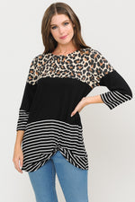 Black Color Block Leopard and Stripe Top