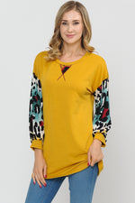 Mustard Top with Leopard Print Sleeve