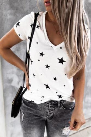 White Starry Eyed V-Neck Tee