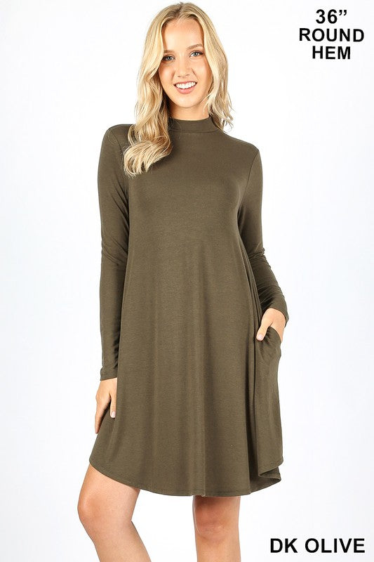 Mock Neck Long Sleeve Pocket Dress