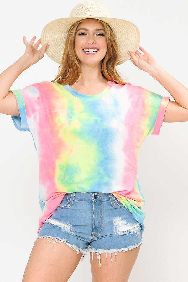 ROUND NECK TIE DYE TOP WITH ROLLED SHORT SLEEVES