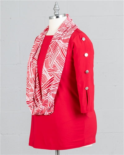 Red Three-quarter Sleeve Top with Infinity Scarf