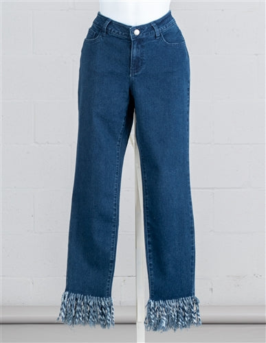 Dark Denim Fringe Jean