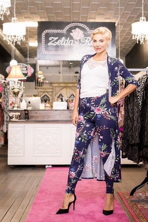 Blue Floral Long Duster with Pant 2pc Set
