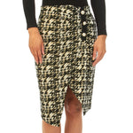 Pearl Button Asymmetric Metallic Houndstooth Skirt