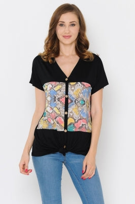 Black Colorful Snake Top