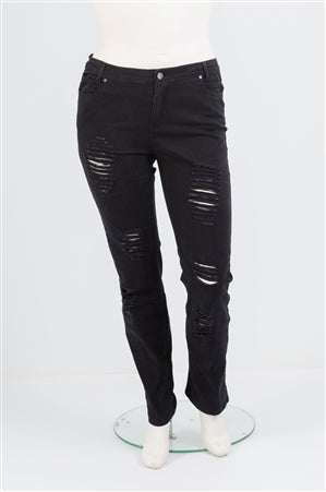 Black Distressed Plus Jeans