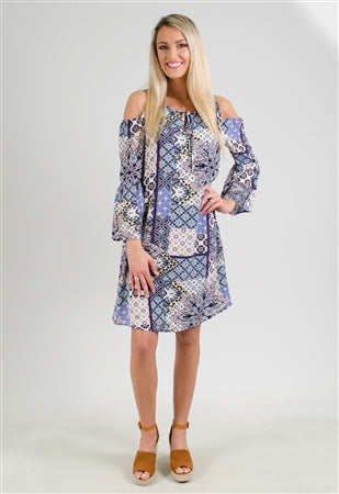 Blue Print Cold Shoulder Dress