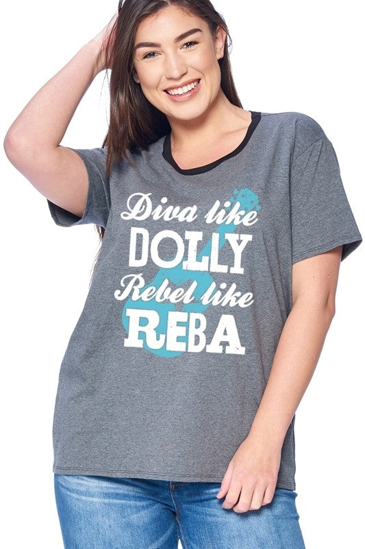 Charcoal Dolly Reba Plus T-Shirt