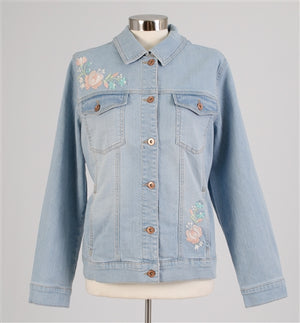 Light Denim Jacket with Embroidery
