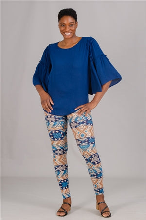 Blue Three-Quarter Wide Sleeve Top
