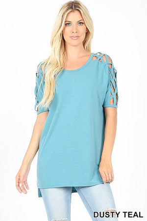 Dusty Teal Criss Cross Sleeve Top